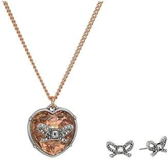 Betsey Johnson Bow Heart Necklace/Earrings Set