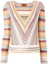 Missoni patterned plunge top - women - Nylon/Spandex/Elastane/Viscose - 40