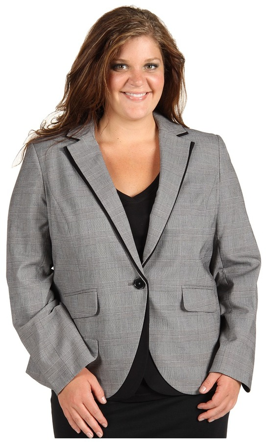 Klein Plus Anne Plus Size Glen Plaid Blazer (Black/Sugar) - Apparel