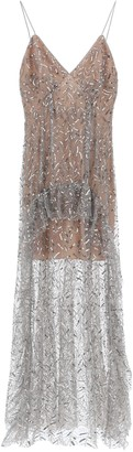 Self-Portrait LONG SEQUINED TULLE DRESS 10 Grey, Silver