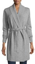 MICHAEL Michael Kors Belted Wool-Blend Shawl Cardigan, Pearl Heather