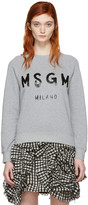MSGM Grey Drawn Logo Pullover