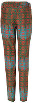 Sophie Theallet Olive/Rust-Multi Belted Arabesque Silk-Cotton Pant