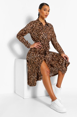 boohoo Mixed Leopard Print Belted Midi Shirt Dress