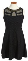 Blush by Us Angels Girl's Illusion Neck Fit & Flare Dress