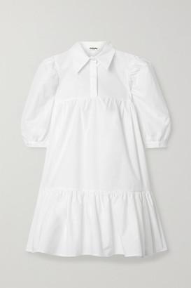 AVAVAV Gathered Ruffled Cotton-poplin Mini Dress - White