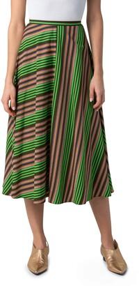 Akris Punto Patchwork Stripe Midi Skirt