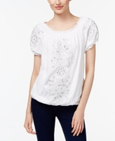 INC International Concepts Petite Embroidered Peasant Top, Created for Macy's