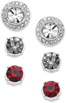 Charter Club Silver-Tone Interchangeable Crystal Jacket and Multicolor Crystal Stud Earring Set