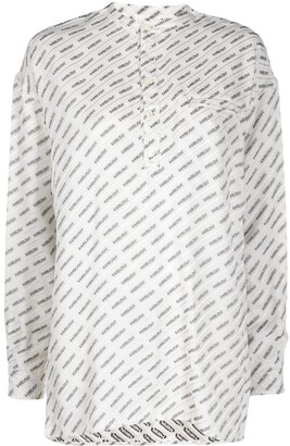 Ambush Logo-Print Collarless Shirt