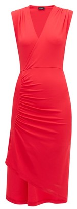 Atlein - Asymmetric Stretch-jersey Wrap Dress - Womens - Pink