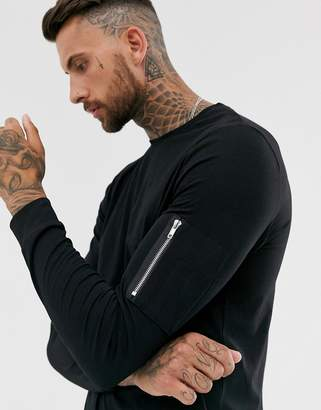 Asos Design DESIGN long sleeve t-shirt with MA1 zip sleeve pocket in black