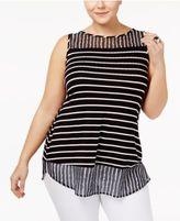 Belldini Plus Size Striped Chiffon-Hem Tank Top