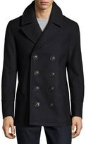 Burberry Iconic Wool-Blend Pea Coat, Navy