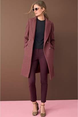 Next Womens Pink Herringbone Revere Coat - Pink