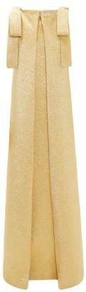 Emilia Wickstead Julie Bow-shoulder Metallic-cloque Gown - Womens - Gold
