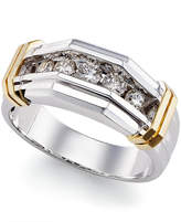 Macy's Men's Diamond (1/2 ct. t.w.) Ring in 10k White Gold and Yellow Gold