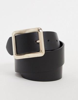 ASOS DESIGN square buckle jeans waist and hip belt in black