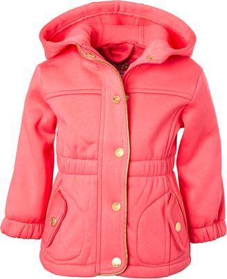 Pink Platinum Girls' Fleece Jackets CORAL - Coral Hooded Fleece Parka - Infant, Toddler & Girls
