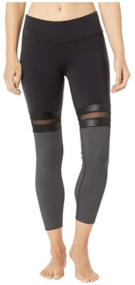 Alo 7/8 Player Leggings (Black/Charcoal Heather) Women's Casual Pants