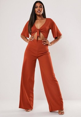 Missguided Tall Rust Cut Out Kimono Sleeve Romper