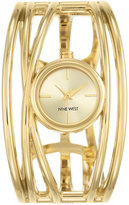 Nine West Women's Gold-Tone Open Bangle Bracelet Watch 22mm NW-1974CHGB