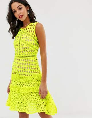 Liquorish panelled lace dress with ruffle detail in neon yellow