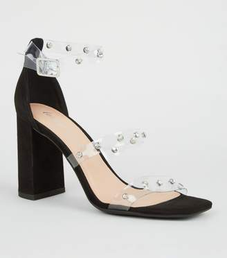 New Look Suedette Diamante Clear Strap Heels