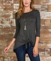 Celeste Charcoal Tie-Front Three-Quarter Sleeve Tunic - Plus