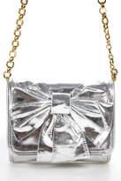 Felix Rey Silver Metallic Leather Gold Chain Small Shoulder Bow Handbag