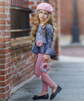 Mia Belle Girls Girls' Leggings Charcoal - Silver Paisley Tunic & Pink Leggings - Toddler & Girls