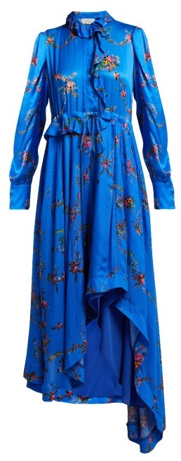 Preen by Thornton Bregazzi Jessie Floral Print Handkerchief Hem Dress - Womens - Blue Multi