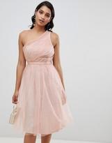Asos Design DESIGN one shoulder tulle midi dress with glitter lining