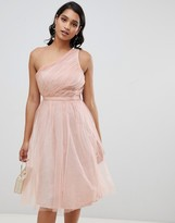 Asos DESIGN one shoulder tulle midi dress with glitter lining