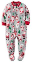 Carter's Size 18M Santa Zip-Front Footed Pajama in Grey