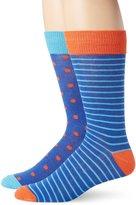 English Laundry Men's 2 Pack Polka Dot and Stripe Crew Socks