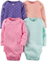 "Carter's Baby Girls' ""Picot Polka"" 4-Pack L/S Bodysuits"