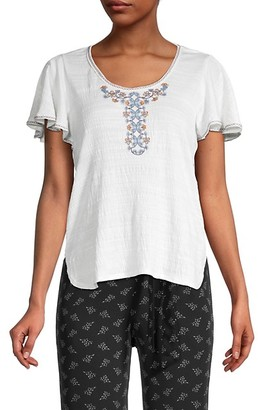 Max Studio Embroidery Flutter-Sleeve Top