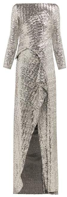 Roland Mouret Sarandon Sequinned Panelled Gown - Womens - Silver