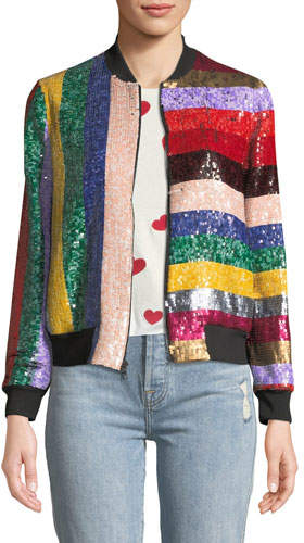 Alice + Olivia Lonnie Zip-Front Sequined Leather Bomber Jacket