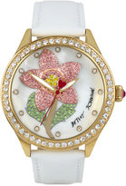 Betsey Johnson Women's White Leather Strap Watch 42mm BJ00517-01