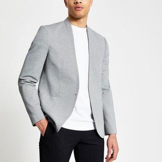 River Island Mens Grey pique collarless skinny fit blazer