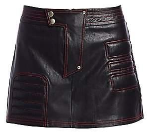I.AM.GIA I.AM. GIA Women's Kasha Exposed Stitch Faux Leather Mini Skirt