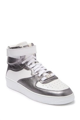 RED Valentino Metallic Lace-Up High Top Sneaker