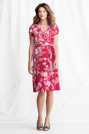 Lands' End Women's Petite Short Sleeve Pattern Cotton Modal Wrap Dress