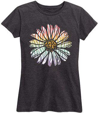 Instant Message Women's Women's Tee Shirts HEATHER - Heather Charcoal Rainbow Zebra Daisy Relaxed-Fit Tee - Women & Plus