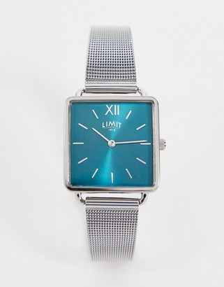 Limit square mesh watch in silver with green dial