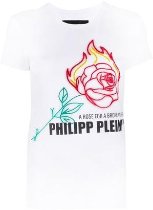Philipp Plein Neon Rose rhinestone T-Shirt