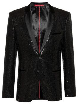 HUGO BOSS - Extra Slim Fit Evening Jacket With All Over Sequins - Black