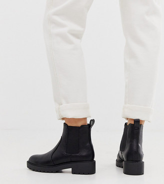 New Look Wide Fit chunky flat chelsea boots in black